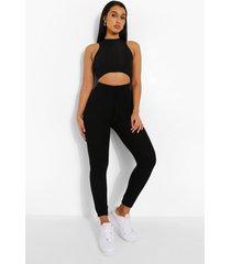 pluizige geribbelde leggings met strik, black