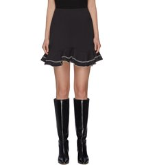 """affinity' ruffle contrast topstitch mini skirt"