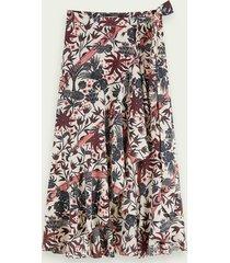 scotch & soda floral print warp around midi skirt