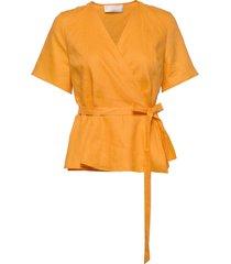 high pressure top linen blouses short-sleeved geel fall winter spring summer