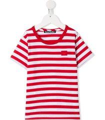 acne studios mini nash face motif t-shirt - red