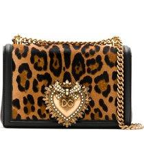 dolce & gabbana leopard print devotion shoulder bag - multicolour