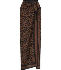 sarong leaf print midi wrap skirt