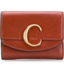 chloé chloé c mini trifold wallet - brown