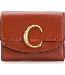 chloé chloé c mini trifold wallet - brown