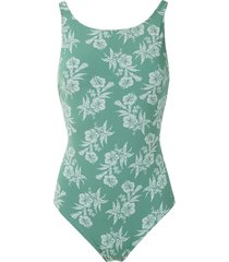 track & field flores printed swimsuit - green