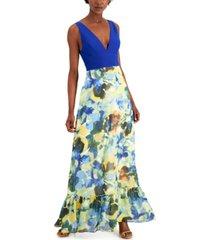 aidan by aidan mattox plunging floral-print a-line dress