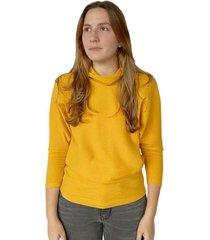 buzo color amarillo, cuello de tortuga para mujer x49580