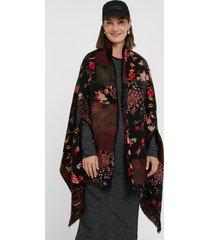 reversible floral square poncho - black - u