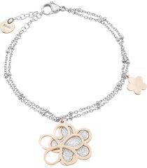 bracciale fiori in acciaio bicolore e lurex per donna