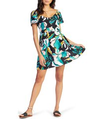 roxy shimmy over print dress, size medium in anthracite paradiso at nordstrom