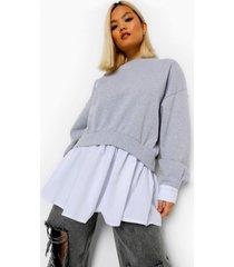petite 2-in-1 sweater met blouse detail, grey marl