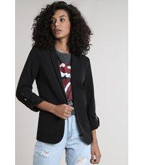 blazer feminino acinturado com martingale preto