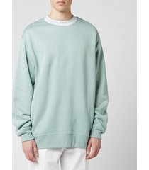 acne studios men's logo crewneck sweatshirt - cold grey - xl