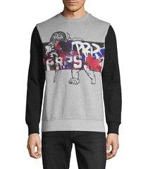 prps men's graphic cotton-blend sweatshirt - black - size xxl