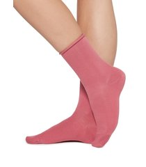 calzedonia - short cotton socks with comfort cut cuffs, 36-38, pink, women