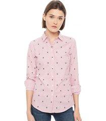 blusa regular print rosa tommy hilfiger