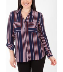 ny collection striped utility blouse