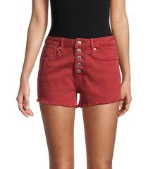 vigoss women's ace high-rise frayed denim shorts - red - size 32 (10-12)