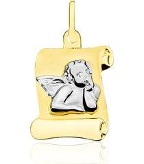 ciondolo in oro bicolore pergamena con angelo pensatore per unisex