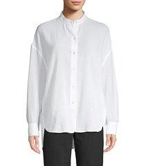 mandarin collar cotton top