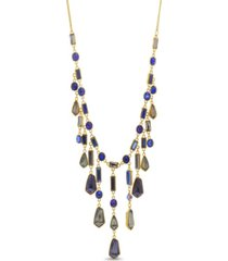 catherine malandrino women's multicolored geo rhinestone yellow gold-tone waterfall style necklace