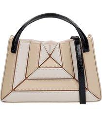 mlouye mini sera tote hand bag in beige leather