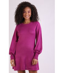 vestido de tricô feminino manga longa bufante vinho