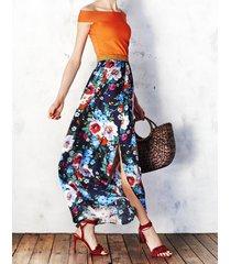 spódnica maxi w malowane kwiaty