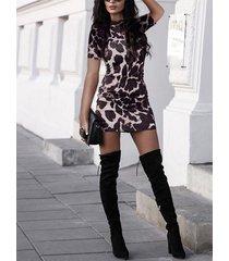 negro leopardo animal redondo cuello manga corta vestido