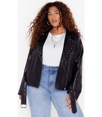 womens stud girl plus faux leather belted jacket - black