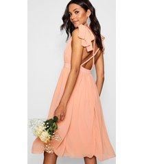 chiffon pleated midi skater bridesmaid dress, blush