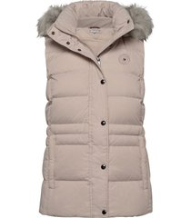 th ess tyra down vest with fur vest roze tommy hilfiger