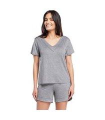 pijama feminino curto com manga curta mescla