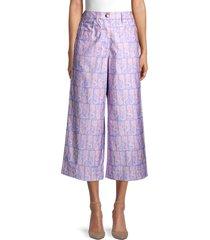 kenzo men's mermaid print cropped wide-leg pants - lavender - size 34 (2)