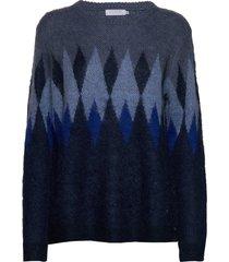 knit w. harlequin pattern gebreide trui blauw coster copenhagen