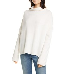 women's vince wool blend funnel neck pullover, size large - white