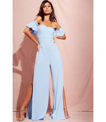 bardot gathered sleeve wide leg jumpsuit, dusty blue