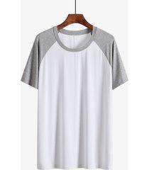 hombres verano casual soft color block patchwork splice t-shirt