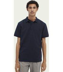 scotch & soda regular fit cotton-blend twill polo shirt