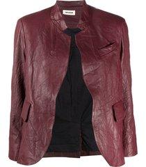 zadig & voltaire crinkle-effect band collar jacket - purple