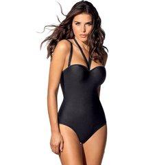 vestido de baño strapless de control extrafuerte - swimwear negro leonisa