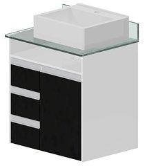 toucador em mdf para banheiro azzera 67x64cm branco e preto