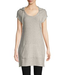 logo cotton-blend hooded tunic