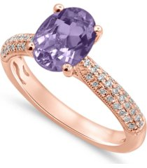 gemstone bridal pink amethyst (1 1/2 ct. t.w.) & diamond (1/5 ct. t.w.) engagement ring in 14k rose gold