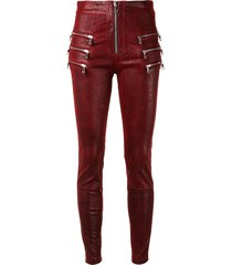 unravel project multi-pocket high-waisted trousers - red