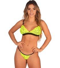 conjunto lingerie neon bella fiore modas com renda verde - verde - feminino - poliamida - dafiti