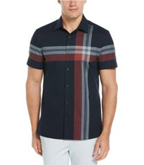 men's plaid exploded short sleeve button-down shirt