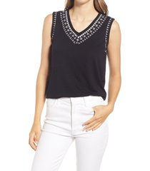 bobeau embroidered tank, size large in pirate black at nordstrom