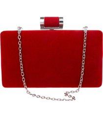 bolsa clutch liage festa veludo metal alça removível vermelha prata